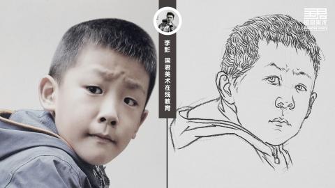 人物速写_局部头部_男孩短发_白描_李彭