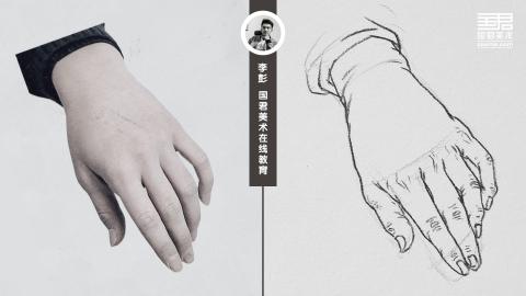 人物速写_局部手_男士手5_白描_李彭