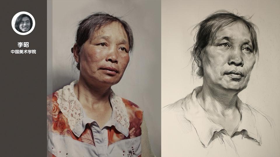 女老年三分之一侧面素描头像_李昭