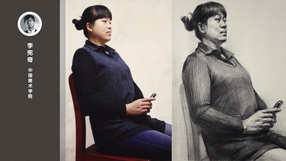 女中青年四分之一侧面仰视半身像素描_李宪奇