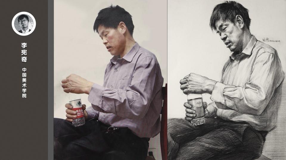 男中年侧面半身像素描_李宪奇