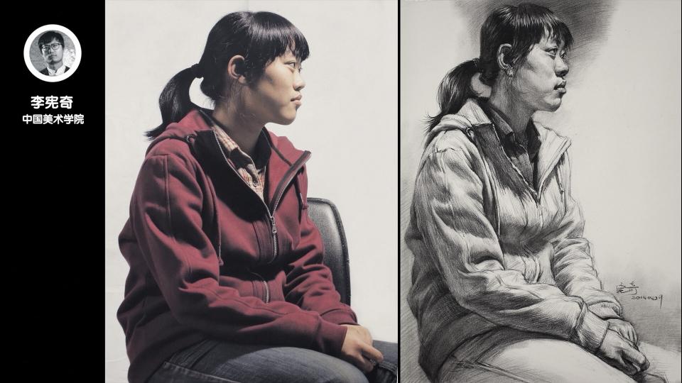 女青年侧面半身素描_李宪奇