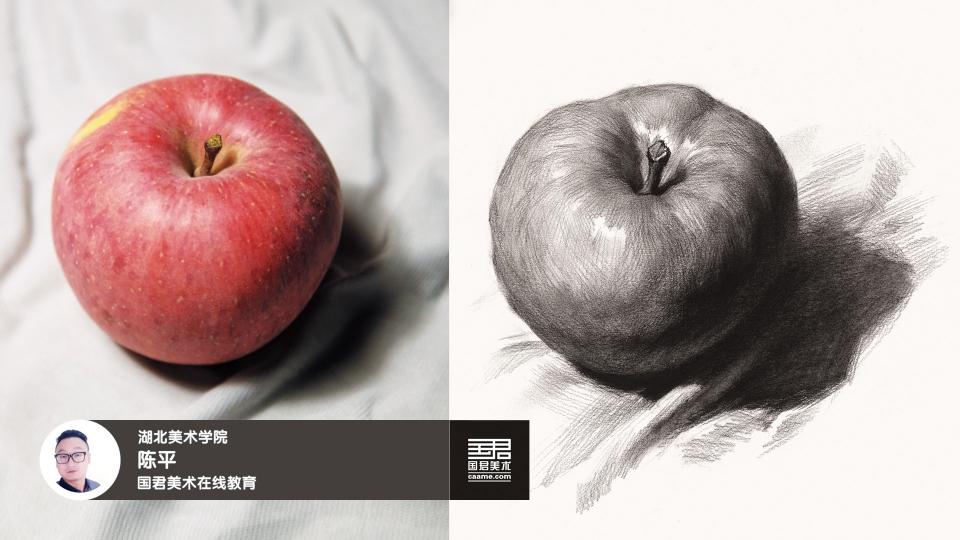 素描静物_单体_苹果_陈平