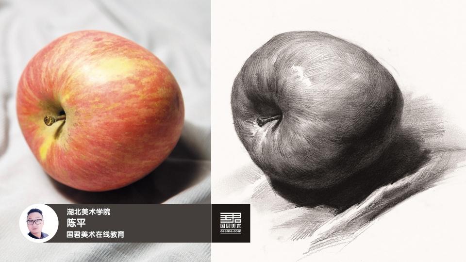 素描静物_单体_苹果_侧面_陈平