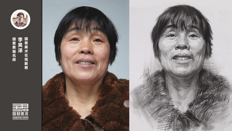 女老年正面素描头像_李昊泽