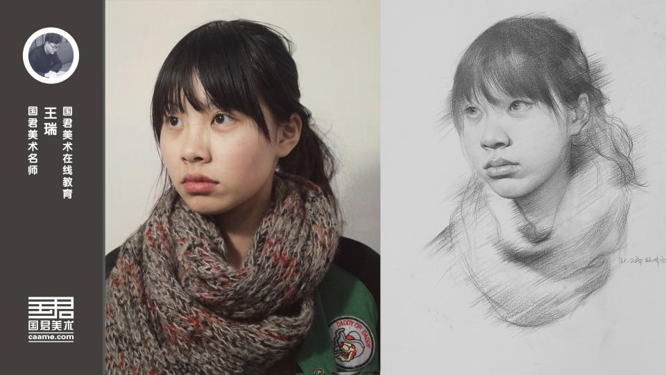 女青年半侧面素描头像_王瑞