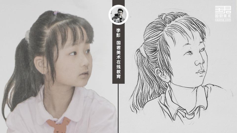 人物速写_局部头部_女孩马尾辫_白描_李彭
